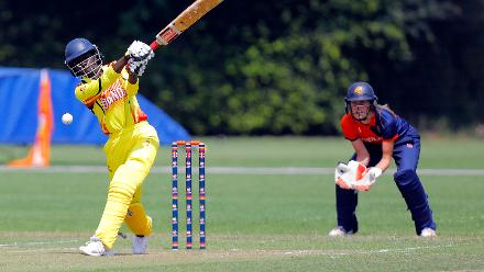 Uganda batsman R Ntono plays a shot, 1st Play-off Semi-Final, ICC Women's World Twenty20 Qualifier at Utrecht, Jul 12th 2018.