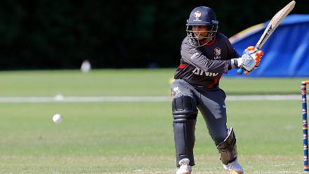 UAE Player S Srinivasan plays a shot, 2nd Play-off Semi-Final, at Utrecht, Jul 12th 2018.