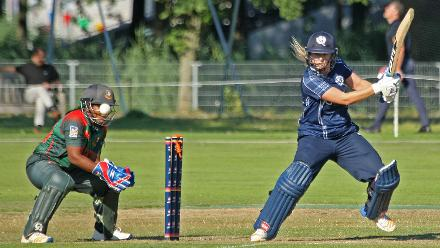 Katie Mc Gill bowled by Nahida Akter, 2nd Semi-Final: Bangladesh Women v Scotland Women, VRA Ground, 12th July 2018.