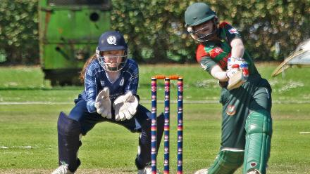 Sultana places the ball between three fielders, 2nd Semi-Final: Bangladesh Women v Scotland Women, VRA Ground, 12th July 2018.