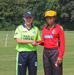 Captains Laura Delany and Kaia Arua, 1st Semi Final Ireland v PNG, VRA, 12th July 2018.