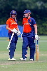 Netherlands Batsman Kallis and Siegers, 1st Play-off Semi-Final, ICC Women's World Twenty20 Qualifier at Utrecht, Jul 12th 2018.