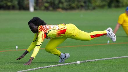 Uganda fielder Candiru saves a boundary, 1st Play-off Semi-Final, ICC Women's World Twenty20 Qualifier at Utrecht, Jul 12th 2018.