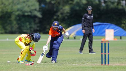 Uganda wicket-keeper misses a run out charge of CC van Slobbe, 1st Play-off Semi-Final, ICC Women's World Twenty20 Qualifier at Utrecht, Jul 12th 2018.