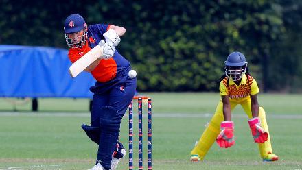 Netherlands Batsman Heather Siegers plays a shot, 1st Play-off Semi-Final, ICC Women's World Twenty20 Qualifier at Utrecht, Jul 12th 2018.