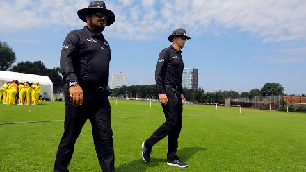 Umpires for the match walking onto the field of play, 1st Play-off Semi-Final, ICC Women's World Twenty20 Qualifier at Utrecht, Jul 12th 2018