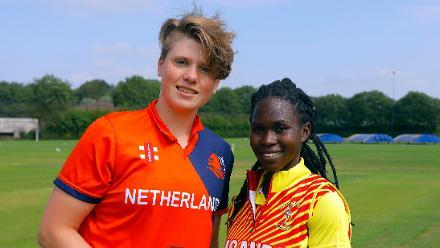 HDJ Siegers (c) and Uganda Capt K Awino (c) at the toss, 1st Play-off Semi-Final, ICC Women's World Twenty20 Qualifier at Utrecht, Jul 12th 2018.
