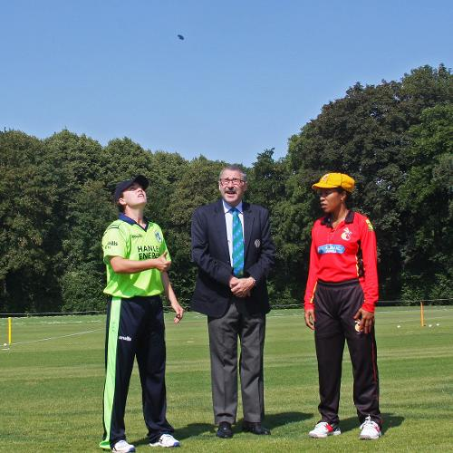 Match referee Jukes with Captains Delany and Arua at the toss, 1st Semi Final Ireland v PNG, VRA, 12th July 2018.