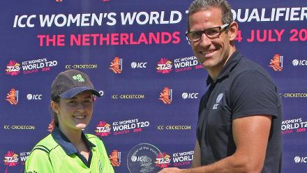 Ed Schuttleworth Regional Development Manager Europe presents Lucy O'Reilly with the Player of the match Award for her 3 for 13 from 3.2 overs, 1st Semi Final Ireland v PNG, VRA, 12th July 2018