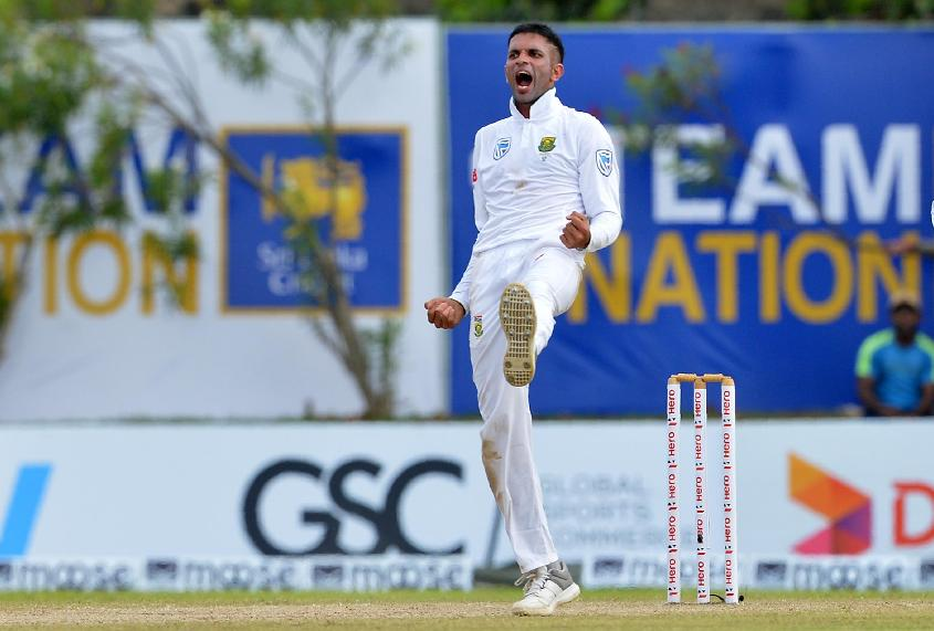 Keshav Maharaj picked up three wickets late in the day to wrest some momentum
