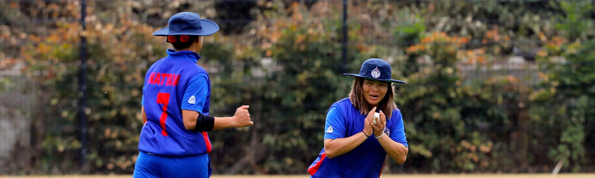 Thailand fielder takes the catch of RV Scholes, 9th Match, Group B, ICC Women's World Twenty20 Qualifier at Utrecht, Jul 10th 2018.