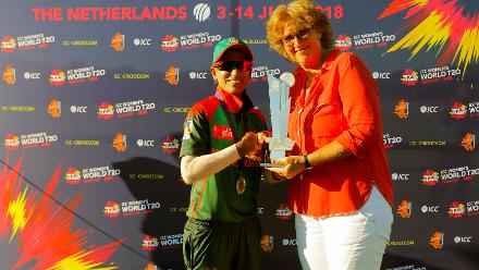 Bangladesh capt Salma Khatun receiving the T20 Trophy award from Ms Betty as the Bangladesh Team qualifies for T20 World Cup, Final, ICC Women's World Twenty20 Qualifier at Utrecht, Jul 14 2018: