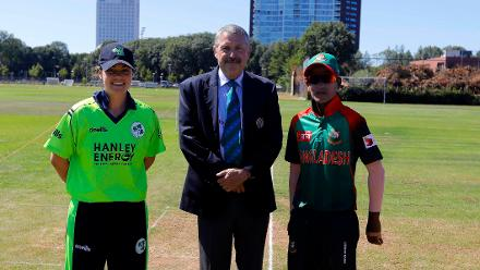 Bangladesh Capt Salma Khatun and Ireland Capt Delany and Match Referee Jukes ready for the toss,  Final, ICC Women's World Twenty20 Qualifier at Utrecht, Jul 14th 2018.