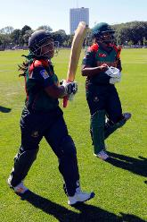 Bangladesh batsman Shamima Sultana and Ayasha Rahman walk out to bat, Final, ICC Women's World Twenty20 Qualifier at Utrecht, Jul 14th 2018.