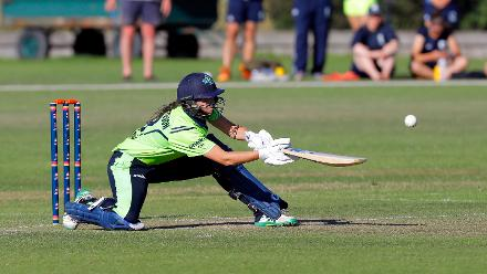 Ireland batsman Richardson Plays a shot, Final, ICC Women's World Twenty20 Qualifier at Utrecht, Jul 14th 2018.