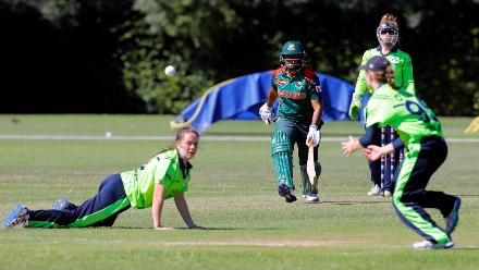 Bangladesh Ayasha Rahman looks at the fielder after playing a shot, Final, ICC Women's World Twenty20 Qualifier at Utrecht, Jul 14th 2018.