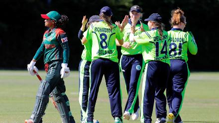 Ireland player celebrates the dismissal of Bangladesh batsman Sanjida Islam,  Final, ICC Women's World Twenty20 Qualifier at Utrecht, Jul 14th 2018.