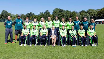 Ireland team group shot before the match Bangladesh v Ireland, Final, ICC Women's World Twenty20 Qualifier at Utrecht, Jul 14th 2018.