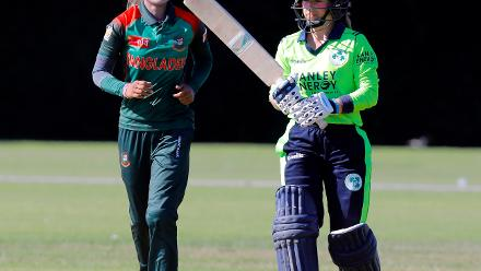 Bangladesh Bowler Jahanara Alam celebrates the dismissal of CNIM Joyce,  Final, ICC Women's World Twenty20 Qualifier at Utrecht, Jul 14th 2018.
