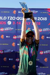 Bangladesh capt Salma Khatun with the trophy, Final, ICC Women's World Twenty20 Qualifier at Utrecht, Jul 14th 2018.