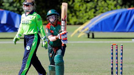 Bangladesh Fahima Khatun bowled by O'Reily, Final, ICC Women's World Twenty20 Qualifier at Utrecht, Jul 14th 2018.