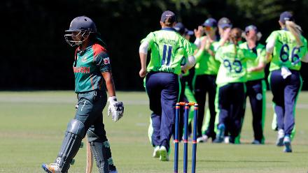 Bangladesh batsman Shamima Sultana is caught Richardson bowled O'Reilly, Final, ICC Women's World Twenty20 Qualifier at Utrecht, Jul 14th 2018.
