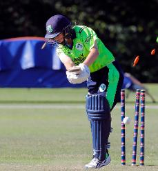 Ireland Captain Delany dismissed by Panna Ghosh, Final, ICC Women's World Twenty20 Qualifier at Utrecht, Jul 14th 2018.