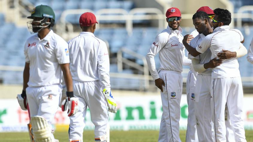 Keemo Paul picked up his first Test wicket when he bowled Tamim Iqbal, Bangladesh's top scorer