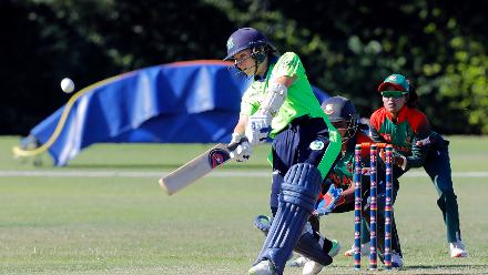 Ireland batsman Shillongton Plays a shot, Final, ICC Women's World Twenty20 Qualifier at Utrecht, Jul 14th 2018.