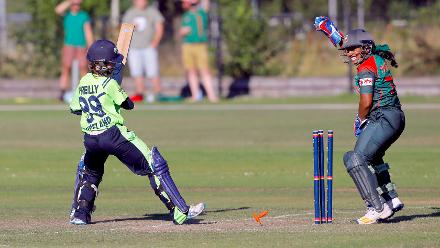LK O'Reilly is bowled by Nahida Akter, Final, ICC Women's World Twenty20 Qualifier at Utrecht, Jul 14th 2018.