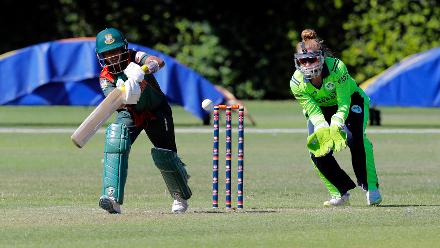 Bangladesh Pinky Plays a shot, Final, ICC Women's World Twenty20 Qualifier at Utrecht, Jul 14th 2018.
