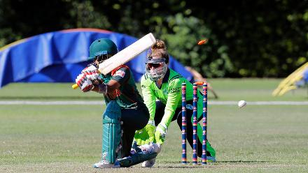 Bangladesh Player Pinky is bowled, Final, ICC Women's World Twenty20 Qualifier at Utrecht, Jul 14th 2018.