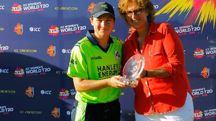 Clare Shillington receiving the Player of the Series Award from Ms Betty during the presentation ceremony, Final, ICC Women's World Twenty20 Qualifier at Utrecht, Jul 14th 2018.