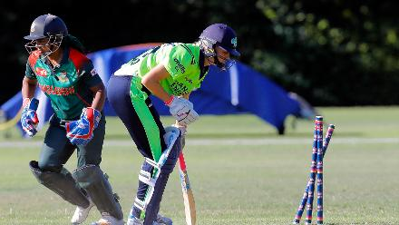 Ireland batsman GH Lewis is stumped by Shamima Sultana bowled by Rumana Ahmed, Final, ICC Women's World Twenty20 Qualifier at Utrecht, Jul 14th 2018.
