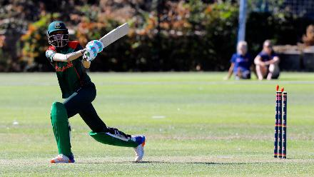Bangladesh batsman Panna Ghosh is bowled, Final, ICC Women's World Twenty20 Qualifier at Utrecht, Jul 14th 2018.