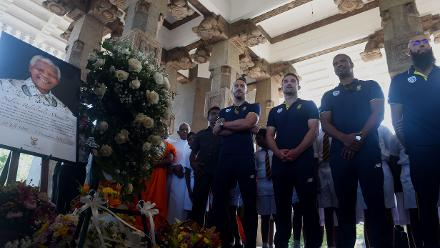 Faf du Plessis, Dean Elgar, Vernon Philander and Hashim Amla gather to commemorate life of Nelson Mandela