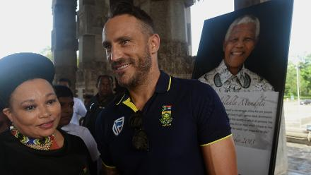 South African High Commissioner to Sri Lanka Robina Marks with Faf du Plessis