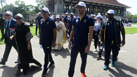 Faf du Plessis and his side took part in a ceremony on Mandela Day