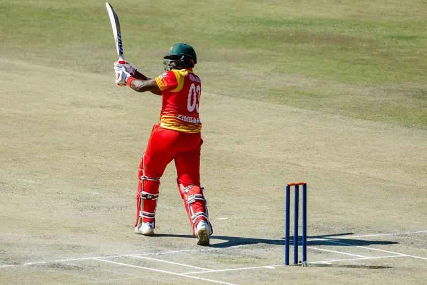 Zimbabwe's Hamilton Masakadza strikes the ball to leg in the fifth ODI against Pakistan