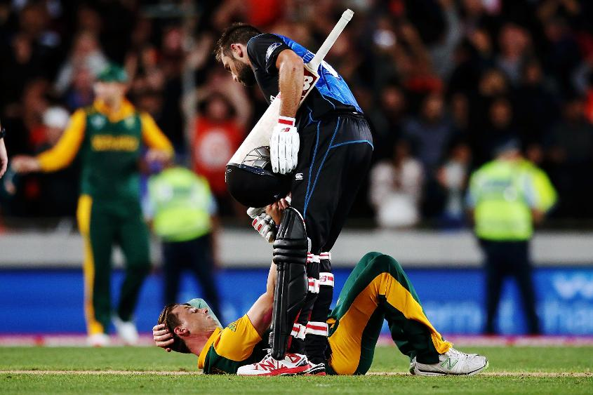 Dale Steyn is consoled as his South Africa side are beaten in the semi-finals of the 2015 Cricket World Cup