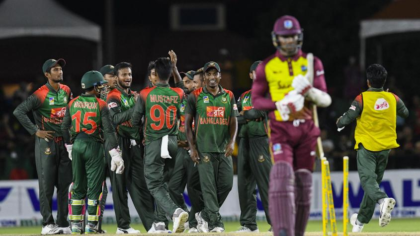Bangladesh were outstanding at the start of the Windies chase, keeping the hosts to 61/3 after 10 overs