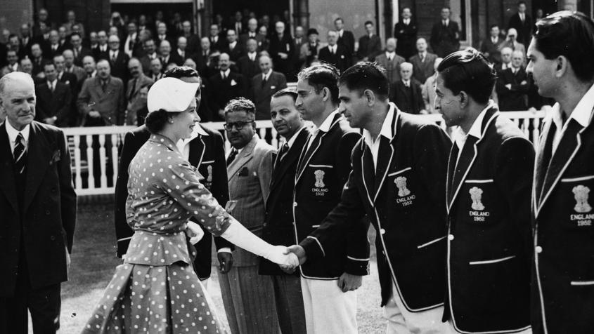 Vinoo Mankad shakes the queen's hand during the 1952 Test – he scored 184 in that game