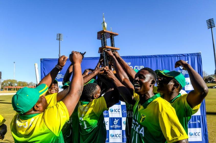 Nigeria celebrate completing their unbeaten campaign in the ICC Under 19 World Cup Africa Division Two Qualifier