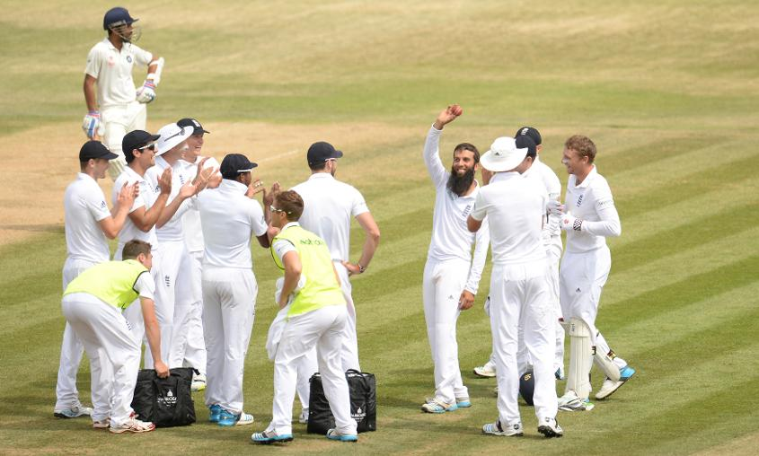 Moeen Ali took six wickets in the second innings as England a inflicted heavy defeat on India at the Ageas Bowl in 2014