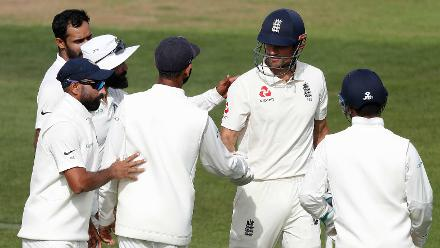 The Indians rushed to congratulate Cook on an innings well played