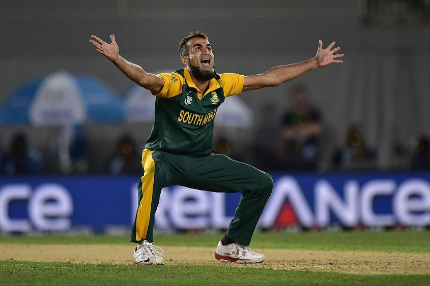 South Africa twirler Imran Tahir appeals during the 2015 ICC Cricket World Cup semi-final against New Zealand