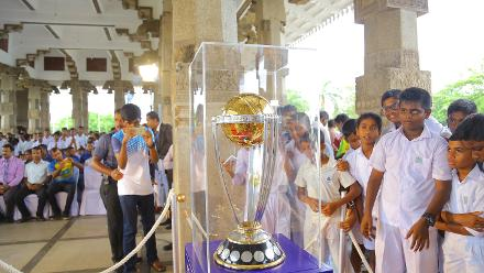 Schoolchildren get a glimpse of the trophy