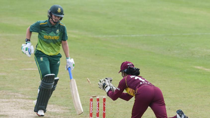 Merissa Aguilleira ran Dane van Niekerk out in the second ODI