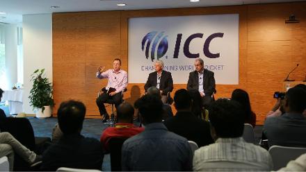 David Richardson, Geoff Allardice and Alex Marshall speak with the Asian media