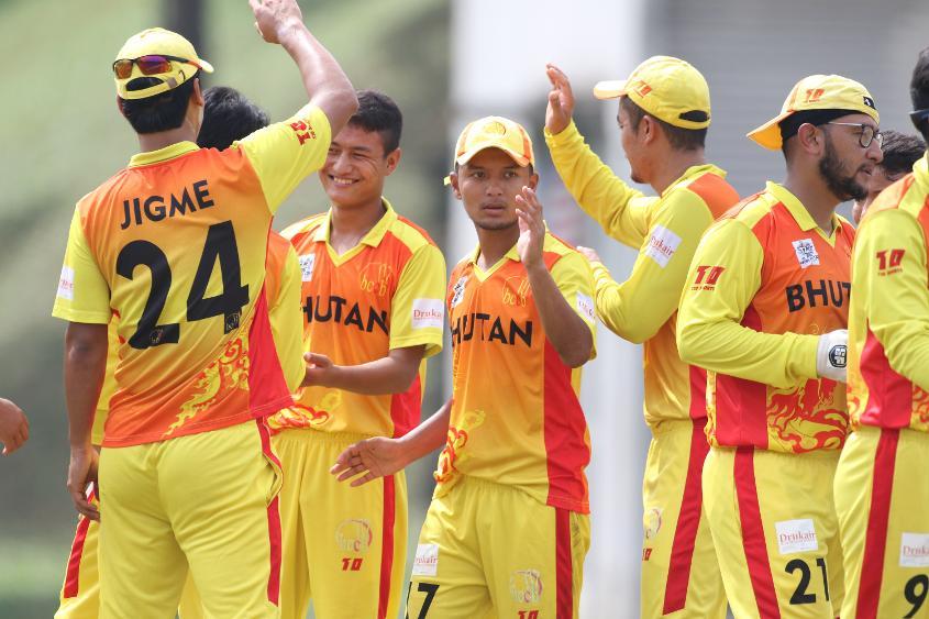 Bhutan players celebrate